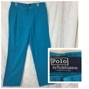 Vtg Polo Ralph Lauren Chino Pants Teal Blue 36/32